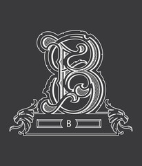 Vector design about white on black alphabet letter B