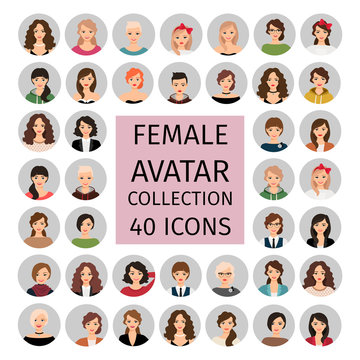 Female avatar collection icons set