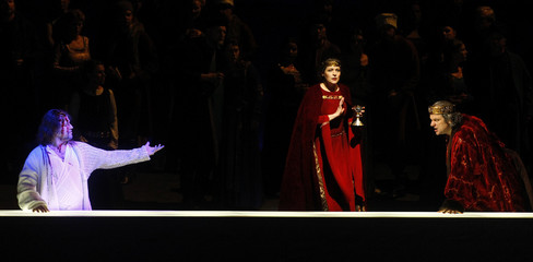 Actor Lucic as Macbeth and Belosselskiy as Banco perform during a dress rehearsal of Guiseppe Verdi's opera 'Macbeth' in Salzburg