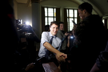 Canada's PM Trudeau greets students at Glebe Collegiate Institute in Ottawa