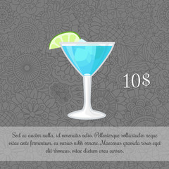 Alcoholic blue cocktail card template