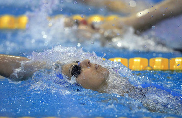 Filipi of Italy competes in a heat for the women's 200m backstroke event during the 2012 European Swimming Championships in Debrecen