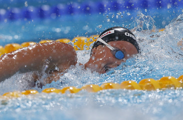 Pellegrini of Italy competes in the women's 200m freestyle heats during the World Swimming Championships in Barcelona