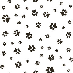 Vector seamless pattern with paw footprints of a dog (wolf), stains and smears