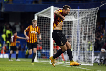 Bradford City's Morais celebrates after scoring against Chelsea during their FA Cup fourth round soccer match at Stamford Bridge in London