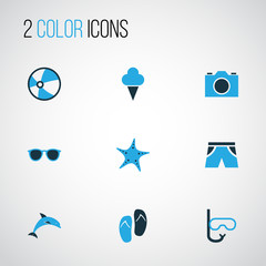Sun Colorful Icons Set. Collection Of Ball, Swimming Mask, Sunglasses And Other Elements. Also Includes Symbols Such As Flop, Sandals, Ball.