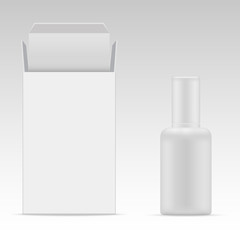Vector blank cosmetic packaging package paper box and plastic bottle for cosmetic product