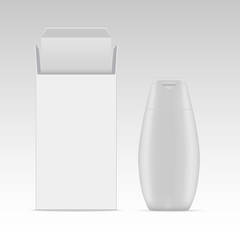 Vector blank cosmetic packaging package paper box and plastic bottle for shampoo