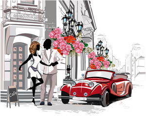 Series of street cafes with a retro car and a romantic couple in the old city. Hand drawn vector.