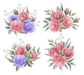Hand painted watercolor charming combination of Flowers and Leaves, isolated on white background