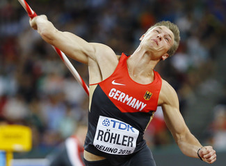 Roehler of Germany competes in men's javelin throw final at 15th IAAF World Championships in Beijing