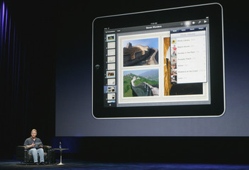 "Phil Schiller, Senior Vice President of product Marketing for Apple, introduces the iWork publishing application for the new ""ipad"" during the launch of Apple's new tablet computing device in San Francisco"