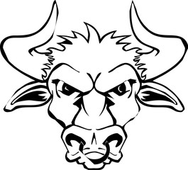 line art - head of the bull