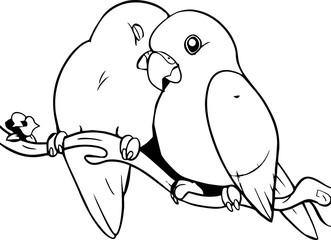line art - romantic bird couple