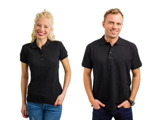 Woman and man in black polo shirts