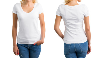 Woman in white V-neck T-shirt, front and back