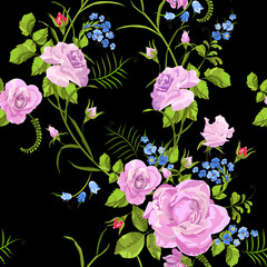 Fashion seamless pattern with roses and forget me not flowers. Vector traditional floral bouquet template for fabric print, packaging, embroidery, card design.