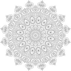 monochrome round ornament  mandala ,  design for coloring book