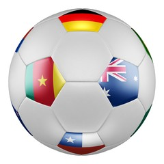Confederations Cup 2017 Group B. Match Cameroon vs Australia. Soccer ball with flags of Germany, Australia, Chile, Cameroon on white screen. 3D rendering.