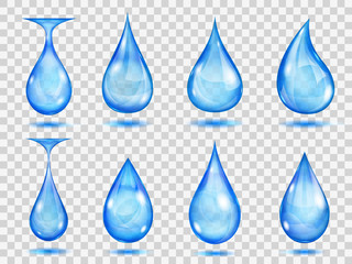 Transparent blue drops