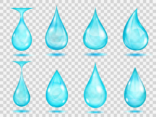 Transparent light blue drops