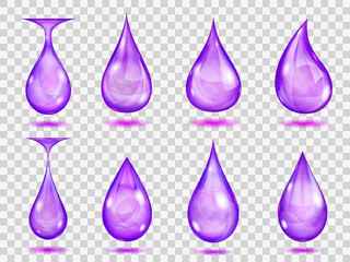 Transparent purple drops