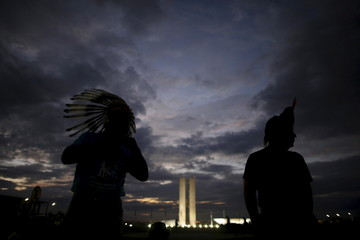 Brazilian Indians from Kaingang ethnic attend the Terra Livre Camp in Brasilia