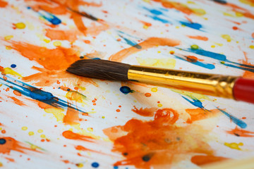 Drawing brush abstract colorful colors watercolor on paper