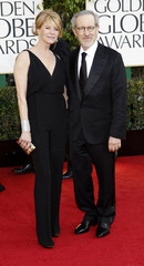 Director Steven Spielberg and his wife, actress Kate Capshaw, arrive at the 70th annual Golden Globe Awards in Beverly Hills