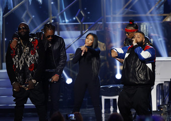 Rick Ross, Future, Nicki Minaj, August Alsina and DJ Khaled perform during the 2016 American Music Awards in Los Angeles
