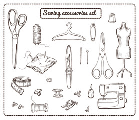Hand Drawn Tailoring Elements Collection