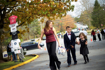 The Gillis family arrives before Melania Trump holds an event at Main Line Sports Centre in Berwyn, Pennsylvania
