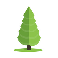 Stylized low poly polygon green Christmas tree vector illustration