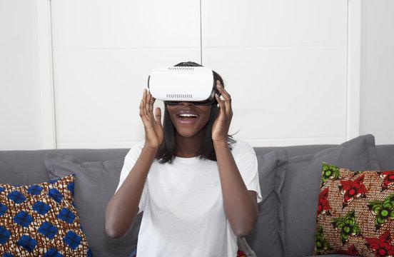 Woman having fun in virtual reality