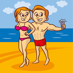 Young couple making a self portrait with a cell phone on the beach