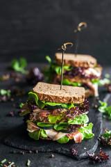 Served toast sandwiches