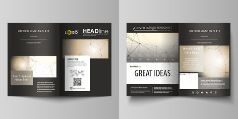 Business templates for bi fold brochure, magazine, flyer. Cover design template, vector layout in A4 size. Technology, science, medical concept. Golden dots and lines, digital style. Lines plexus.
