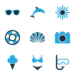Sun Colorful Icons Set. Collection Of Dolphin, Shell, Swimming Mask And Other Elements. Also Includes Symbols Such As Lifebuoy, Boat, Spectacles.