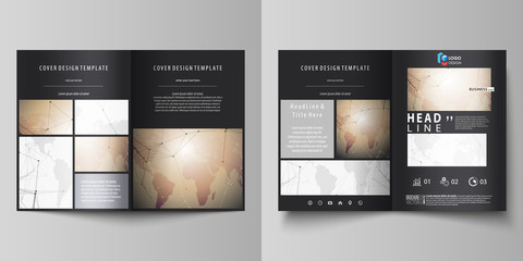 The black colored vector illustration of editable layout of two A4 format modern covers design templates for brochure, flyer, booklet. Global network connections, technology background with world map.