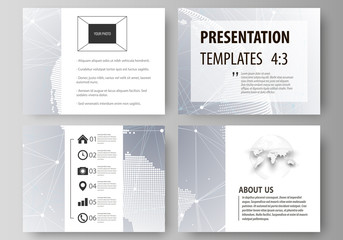 The minimalistic abstract vector illustration of the editable layout of the presentation slides design business templates. Technology concept. Molecule structure, connecting background.