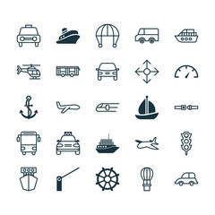 Transport Icons Set. Collection Of Vehicle, Sailboat, Road Pointer And Other Elements. Also Includes Symbols Such As Plane, Sail, Travel.