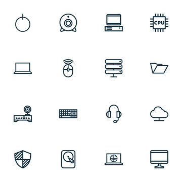 Computer Hardware Outline Icons Set. Collection Of Cpu, Protect, Camera And Other Elements. Also Includes Symbols Such As Keypad, Web, Modem.