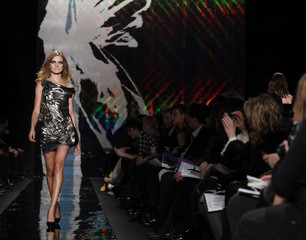 A model presents a creation at the Diane von Furstenberg Fall 2010 collection during New York Fashion Week