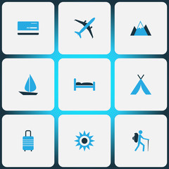 Journey Colorful Icons Set. Collection Of Baggage, Bed, Sun And Other Elements. Also Includes Symbols Such As Tourist, Boat, Sail.