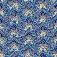 Abstract seamless paisley pattern. Traditional oriental ornament, blue tones. Geometric background. Textile design.