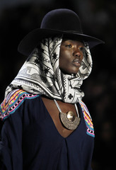 A model presents a creation during the Mara Hoffman Fall/Winter 2012 collection show during New York Fashion Week