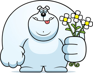 Cartoon Polar Bear Flowers