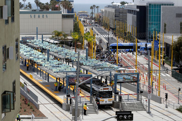A train is seen at Santa Monica station in front of the newly pedestrianized street to the Santa Monica pier, on L.A. Metro's new $1.5 billion Expo Line extension that connects downtown to the beach for the first time in 63 years, in Santa Monica