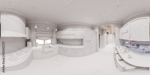 3d illustration of the kitchen interior design in - Interior design without a degree ...