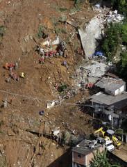 An aerial view of Morro dos Prazeres slum after a landslide ,